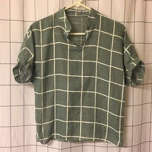 Green and white grid print blouse
